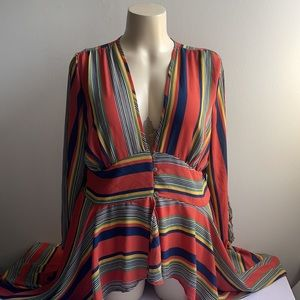 Asymmetric Striped Dress Burnt Orange/Blue 2X NWT